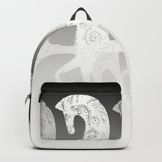 Horses in line - black and white - #society6 #buyart Backpack