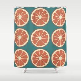 Grapefruit Slices on Blue, Red Orange Fruit Pattern Shower Curtain