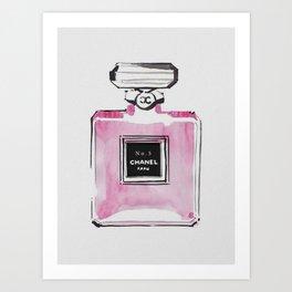 Vintage pink perfume drawing Art Print