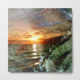 Florida Sunset Reflected In Abalone Shell Metal Print