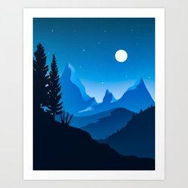 Blue mountains Twilight Art Print