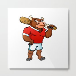 bull with baseball bat. Metal Print