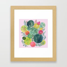 Succulent Circles on Pink Framed Art Print