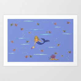 Fashionable mermaid - violet Art Print
