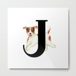 Dog Monogram Collection J Metal Print