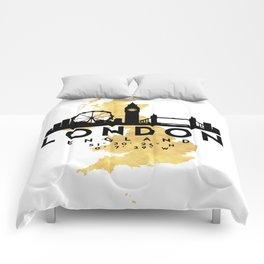 LONDON ENGLAND SILHOUETTE SKYLINE MAP ART Comforters