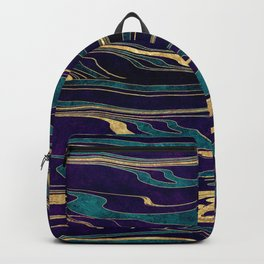 Stylish gold abstract marbleized paint image Backpack