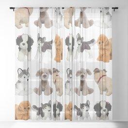 Fluffy Puppy Dog Kids Pattern Sheer Curtain