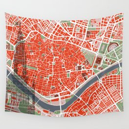 Seville city map classic Wall Tapestry