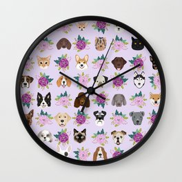 Dogs and cats pet friendly floral animal lover gifts dog breeds cat person Wall Clock