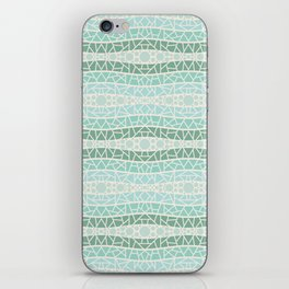 Mosaic Wavy Stripes in Green and Turquoise iPhone Skin
