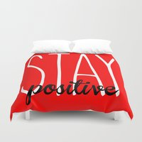 crossfit Duvet Covers featuring Stay Positive  by Free Specie