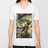 android V-neck T-shirts featuring Smoking Android by markclarkii