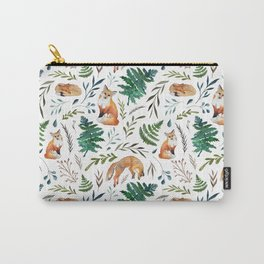 Foxes and Ferns Pattern Carry-All Pouch