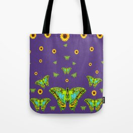 YELLOW SUNFLOWERS, GREEN MOTHS ON PURPLE Tote Bag