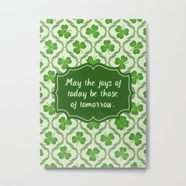Irish Blessing Shamrocks Pattern Metal Print