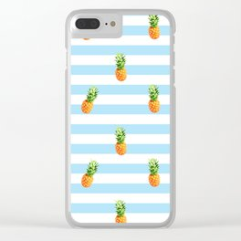 Pineapple, blue stripes, Summer Poster, Pineapple pattern Clear iPhone Case