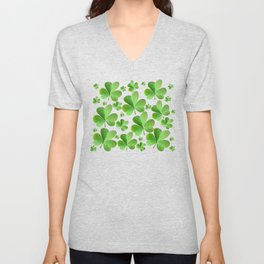 Clovers on Black Unisex V-Neck