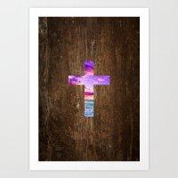 cross Art Prints featuring CROSS by Pocket Fuel