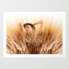 Woman In Wheat Field Art Print