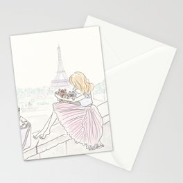 Eiffel Tower Pleated Cuddles with Yorkie Dog and Cat Stationery Cards