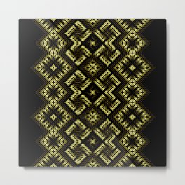 Fiery ancient ornament. Old Nordic embroidery in a psychedelic modern style Metal Print