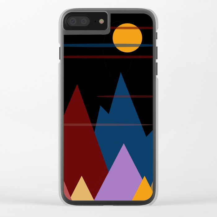 Moon Over The Mountains #3 Clear iPhone Case