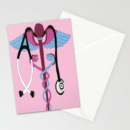 medical caduceus and stethoscope, pink Stationery Cards