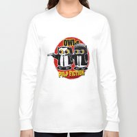 tarantino Long Sleeve T-shirts featuring Owls Pulp Fiction by Lime