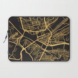 PITTSBURGH PENNSYLVANIA GOLD ON BLACK CITY MAP Laptop Sleeve