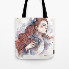 Girl with a butterfly II, watercolor artwork / illustration Tote Bag