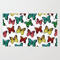 butterflies Area & Throw Rugs featuring Butterflies by Julia Badeeva