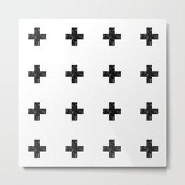 Watercolor Swiss Cross (White) Metal Print