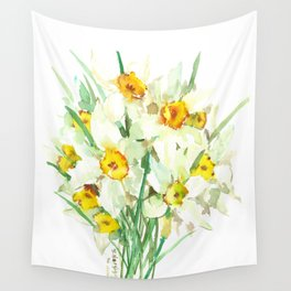 Daffodil Flowers, White spring flowers, Green yellow spring colored design Wall Tapestry