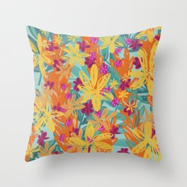 Flowers (Aqua) Throw Pillow