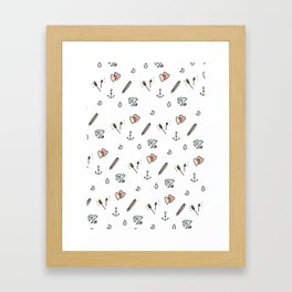 Anchor and Love Pattern. Framed Art Print