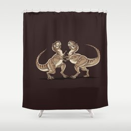Two dinosaurs fighting each other illustration Shower Curtain
