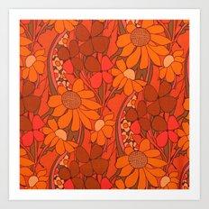 Vintage floral linen fabric  Art Print