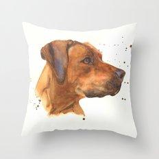 dog art, dogs, rhodesian ridgeback, dog painting, beautiful dog, dog lovers Throw Pillow