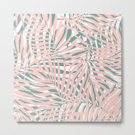 Hawaii Palms Prints, Pink and Teal Metal Print