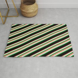Dark Salmon, Light Cyan, Forest Green & Black Colored Striped Pattern Rug