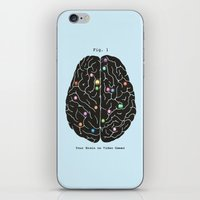 video games iPhone & iPod Skins featuring Your Brain On Video Games by Terry Fan
