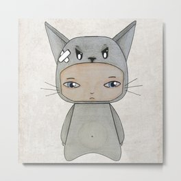 A Boy - Cat Metal Print