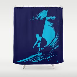 Blue wave Shower Curtain