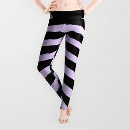 Pale Lilac and Black Zebra Animal Safari Stripes Leggings