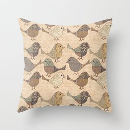 Nostalgic Autumn Patchwork Bird Pattern in warm retro colors #autumndecoration Throw Pillow