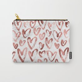 Rose Gold Love Hearts on Marble Carry-All Pouch