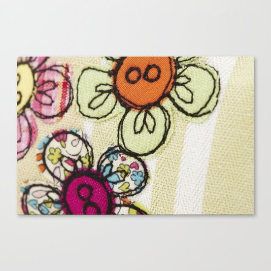 Embroidered Flowers Green Canvas Print