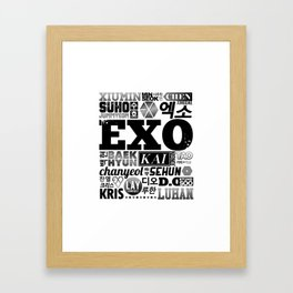 EXO Font Collage Framed Art Print