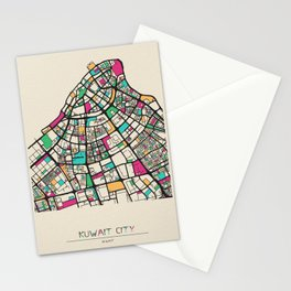 Colorful City Maps: Kuwait City Stationery Cards
